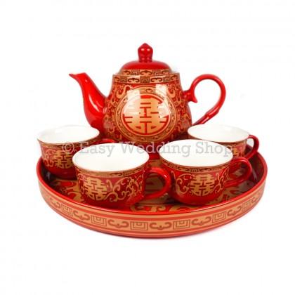 High Grade Chinese Wedding Ceramic Teapot Set 高档红釉双喜茶具有耳杯配盘